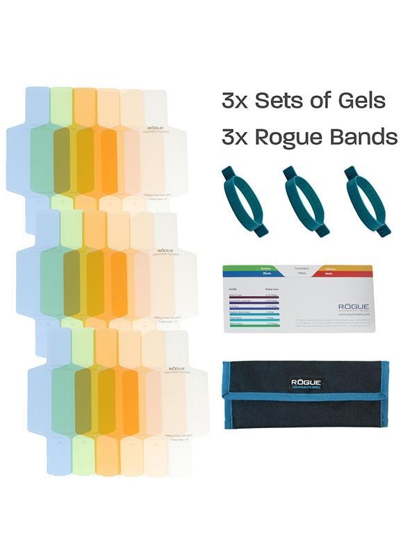 Rogue Kit 18 Filtros Correctores CTO p/ Flash - Los geles de corrección de color se utilizan para mejorar el equilibrio de color general de una imagen mediante el ajuste de la temperatura de color del flash para adaptarse mejor a otras fuentes de luz ambiente. El balance de blancos de la cámara y el color equilibrar sus flashes para el color consistente y uniforme en entornos de iluminaciones mixtas.