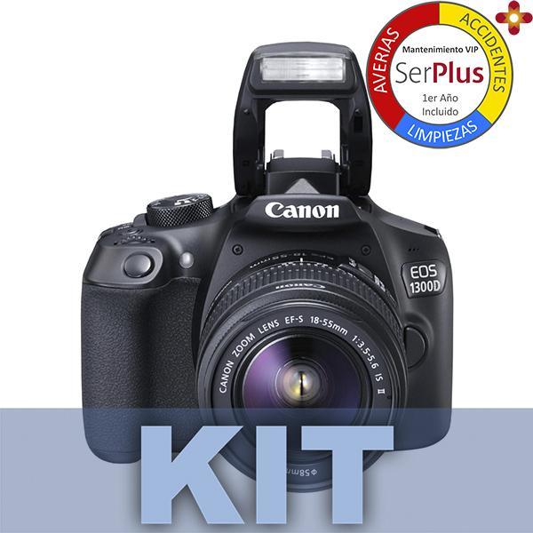 Canon Cámara EOS 1300D + 18-55mm + Bolsa + tarjeta SD 16GB + Gamuza -