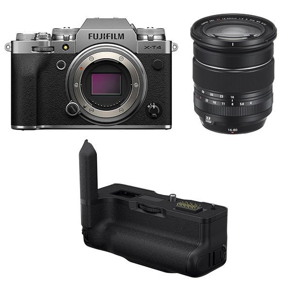 Fuji Cámara X-T4 Plata + XF 16-80mm f4 + Empuñadura VGXT4