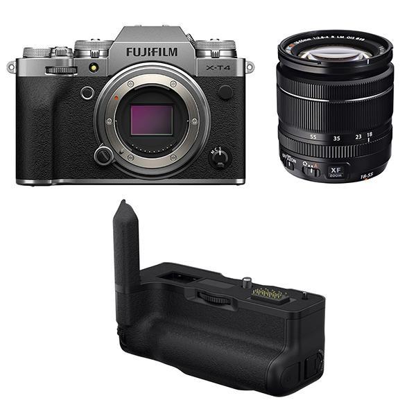 Fuji Cámara X-T4 Plata + XF 18-55mm f2.8-4 + Empuñadura VGXT4